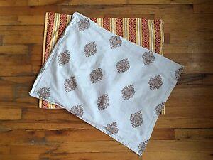 Echo Designs 2 Standard Shams Pillow Cases 100% Cotton Striped Leaf Print EUC