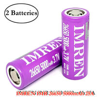 2x IMR 26650 5000mAh 50A Rechargeable Flat Top High Drain Flashlight Battery