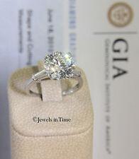 4.15 Carat Round Brilliant Diamond Platinum Ring GIA