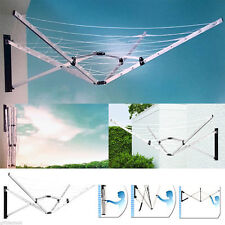 WALL MOUNTED FOLDING 5 ARM 26M CLOTHES AIRER DRYER WASHING LINE OUTDOOR GARDEN