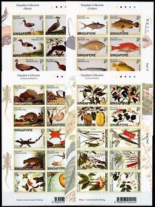 Singapur Singapore 2002 Pflanzen Vögel Fische Tiere Farquhar 1130-1169 Sticker