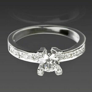 COLORLESS DIAMOND SOLITAIRE & ACCENTS RING ROUND CUT 18K WHITE GOLD LADY VS1 D