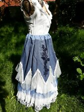 QUIRKY STEAMPUNK LAGENLOOK  BOHO ART PRAIRIE SALOON GIRL SKIRT SIZE 10 - 24