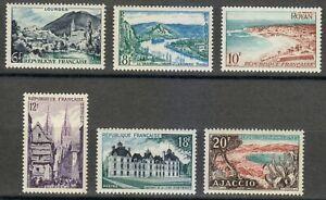 France 1954 MNH Mi 1004-1009 Sc 719-724 Views.City.Architecture.Tourism set **