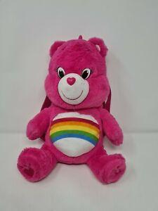 RAINBOW CHEER Care Bear Children's Rucksack Backpack Bag Pink Plush Soft Toy