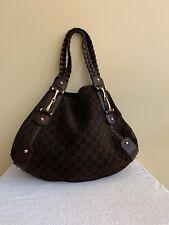 Authentic GUCCI Brown Suede Leather PELHAM Shoulder Handbag Purse Tote Bag Large