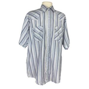 Plains Western Wear Men LT Tall Man Striped western Shirt Cotton Blend Snaps SS