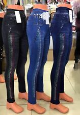 Womens Diamante Stud Stripe and silver stones Denim High Waisted Stretch Jegging
