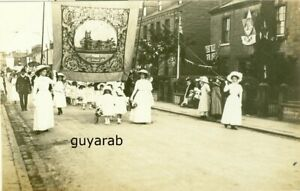 uncaptioned view RP Street Procession, St James's Church on banner, Clitheroe