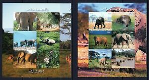 MALAWI 2012 ELEPHANTS ANIMALS WILD NATURE FAUNA STAMPS 2 BLOCKS IMPERF MNH