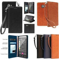 for GreatCall Jitterbug Smart2 PU Leather Fold Credit Card Slot Wallet Flip Case