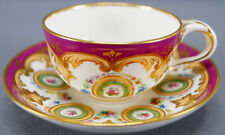 Minton Hand Painted Garlands Scrollwork & Framed Roses Twist Handle Tea Cup 1840