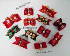 30 Red & Christmas Dog Pet Puppy Grooming bows Maltese Yorkie Biewer Poodle