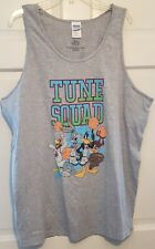 Men Tank Tshirt Gray Space Jam Tune Squad Front Print Warner Bros NWT M L XL 2XL