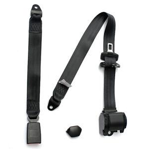 Black 1 Set 3 Point Seat Belt Lap Safety Travel Retractable Car Truck Universal