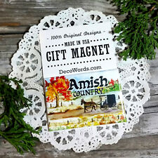 "DecoWords Fridge Magnet 2""x3"" AMISH COUNTRY Travel Trip Souvenir Memory New USA"