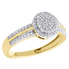 Right Hand Cocktail Ring 0.25 Ct. 10K Yellow Gold Cluster Diamond Double Circle