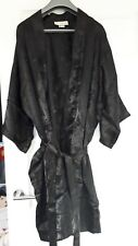 Black Womens silk Satin Robe Dressing Gown Wedding Bride Kimono unisex ladies