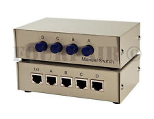 1x4 or 4x1 - 4-Port AB Manual Sharing Network Ethernet RJ45 Switch Selector Box