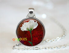 silver Chain Pendant Necklace wholesale Rose Flower glass dome Tibet