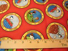 "1 Yard Cotton Fabric ""Peanuts Gang Camping"" by Quilting Treasures 2012 New"