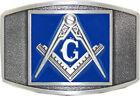 Gray Blue MASON Stone Crafters Belt Buckle Masonic Compass Brick Laying Trowel