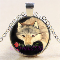 Native American woman and Wolf cabochon verre Tibet Argent Chaîne Collier