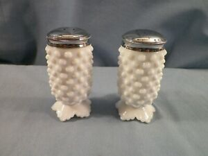 Fenton Hobnail White Milk Glass Footed Salt & Pepper Shaker Set