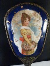 Victorian Portrait Vanity Hand Mirror Bronze D'Ore Guilloche Blue Enamel French