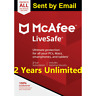 Mcafee LiveSafe 2020 Unlimited Devices 2 Years  antivirus 2019 Download