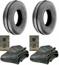 TWO New 4.00-19 Tri-Rib 3 Rib Front Tractor Tires & Tubes 8N 9N Ford 4Ply Rated