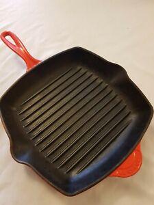 Le Creuset Cast Iron 26cm Volcanic Orange Griddle / Skillet / Frying Pan
