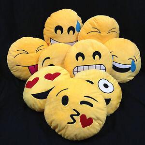 NEW Emoji Emoticon Yellow Round Cushion Soft Toys Pillow Plush