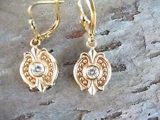 14KT Yellow Gold & Bezel Set Diamond Leverback Earrings....Estate European Flare