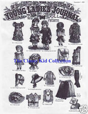 """Antique 20"""" Doll Patterns Young Ladies Journal 1882 LHJ"""