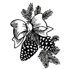 PINE CONES & BOW, Christmas unmounted rubber stamp, winter, festive holiday #7