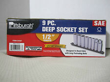 "Pittsburgh  9 pc ½"" Drive 6 pt Deep Socket Set SAE  04467"