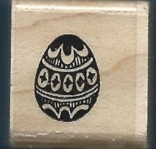 MINI DECORATED EGG Design 1989 STAMPENDOUS! FUN Wood Mount Craft RUBBER STAMP