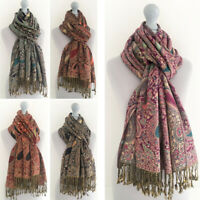 Ladies Long Rainbow Multi Colour Paisley Scarf Pashmina Evening Shawl Vintage