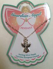 GUARDIAN ANGEL PENDANT NECKLACE Silver Finish  NEW  Child