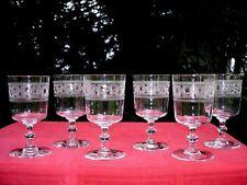 BACCARAT 6 WINE WATER GLASSES VERRES A VIN EAU CRISTAL GRAVÉ 3458 19ÉME XIXÉME
