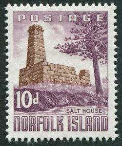 NORFOLK ISLAND 1961 10d brown and reddish violet SG30 mint MH FG Salt House #A05