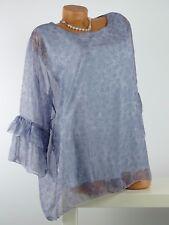 Tunika mit Top Lagenlook Anker Maritim gerüscht One Size Gr. 40 - 48 blau w