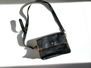 Authentic Tory Burch Black Suede Leather Shoulder Crossbody Bag