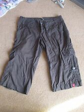 Brown EDC Esprit 100% cotton Cropped  Baggy Trousers Size 36