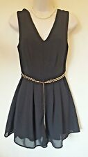 LOOK Size 10 EUR 38 Black Play Suit With Gold Plaited Belt