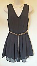 LOOK Size 10 EUR 38 Black Jumpsuit With Gold Plaited Belt