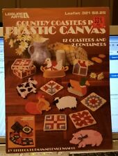COUNTRY COASTERS IN PLASTIC CANVAS LEAFLET 321 LEISURE ARTS PATTERNS COW LAMB +