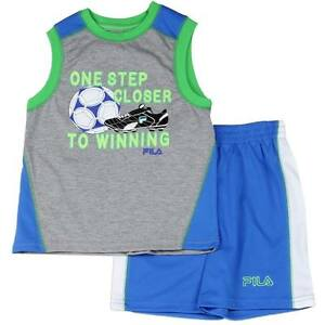 """Fila T-Shirt and Shorts Set Size 2 3 4 """"One Step Closer To Winning"""""""