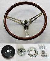 "1967 RR Barracuda GTX Fury High Gloss Finish Wood Steering Wheel 15"" SS Spokes"
